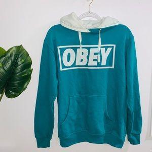 Obey Aqua Blue & White Sweater Hoodie Medium